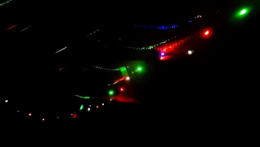Abstract image of Fairy lights against a black background