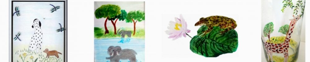 Dog and Dragonfly, Elephant, Frog and Giraffe paintings