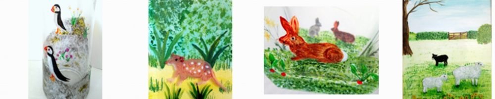 Puffins, Quoll, Rabbit and Sheep Animal Alphabet paintings