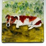 Pet portrait on a glass coaster of a Jack Russell