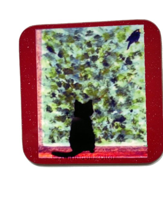 Black cat coaster with a cute cat watching a bird in the bushes