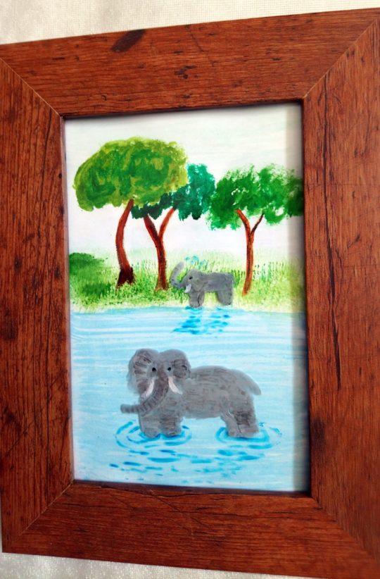 Elephant painting mixed media
