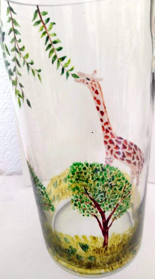 Giraffe glass painting, view from the inside of the vase