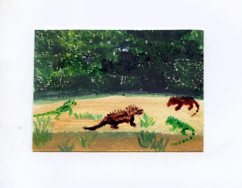 An Iguana meeting! Mixed media miniature acrylic and glass painting