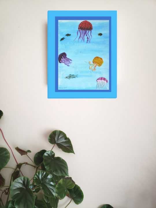 Jellyfish seaside wall art print with jellyfish and fishes swimming in a blue sea