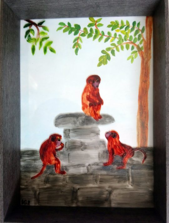 Painitng with Monkeys sitting on a rock