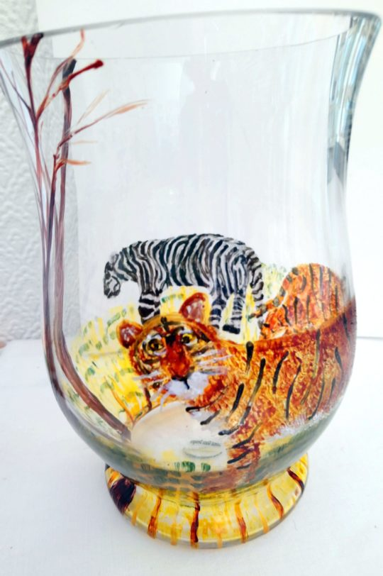Glass vase with tigers, hand painted