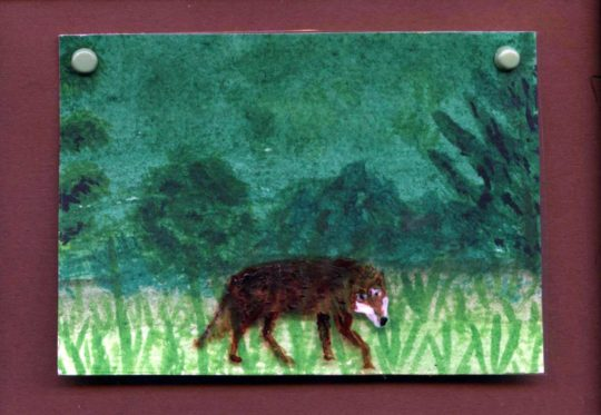 wolf miniature painting acrylic and glass paint