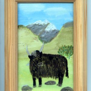 Small painting of a yak in the mountains.