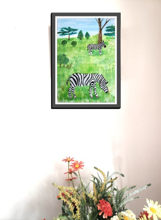 Wildlife art print with zebras on grass and trees