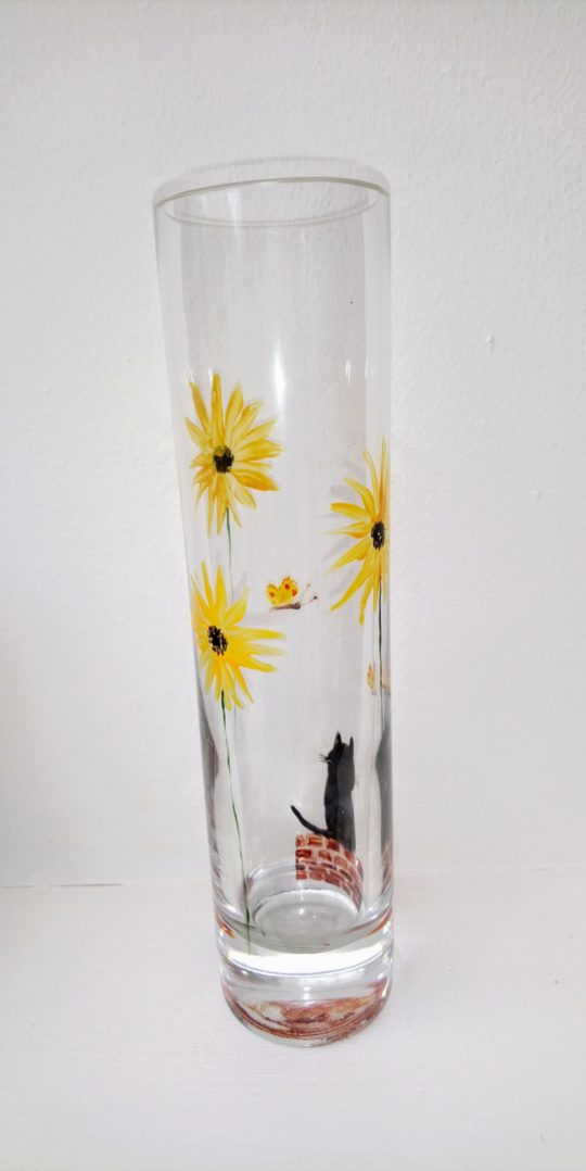 Summer bud vase hand painted with sunflowers, butterflies and a black cat
