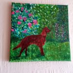 Nature, animal art with a Red Setter dog in a garden. Acrylic and glass painting on canvas