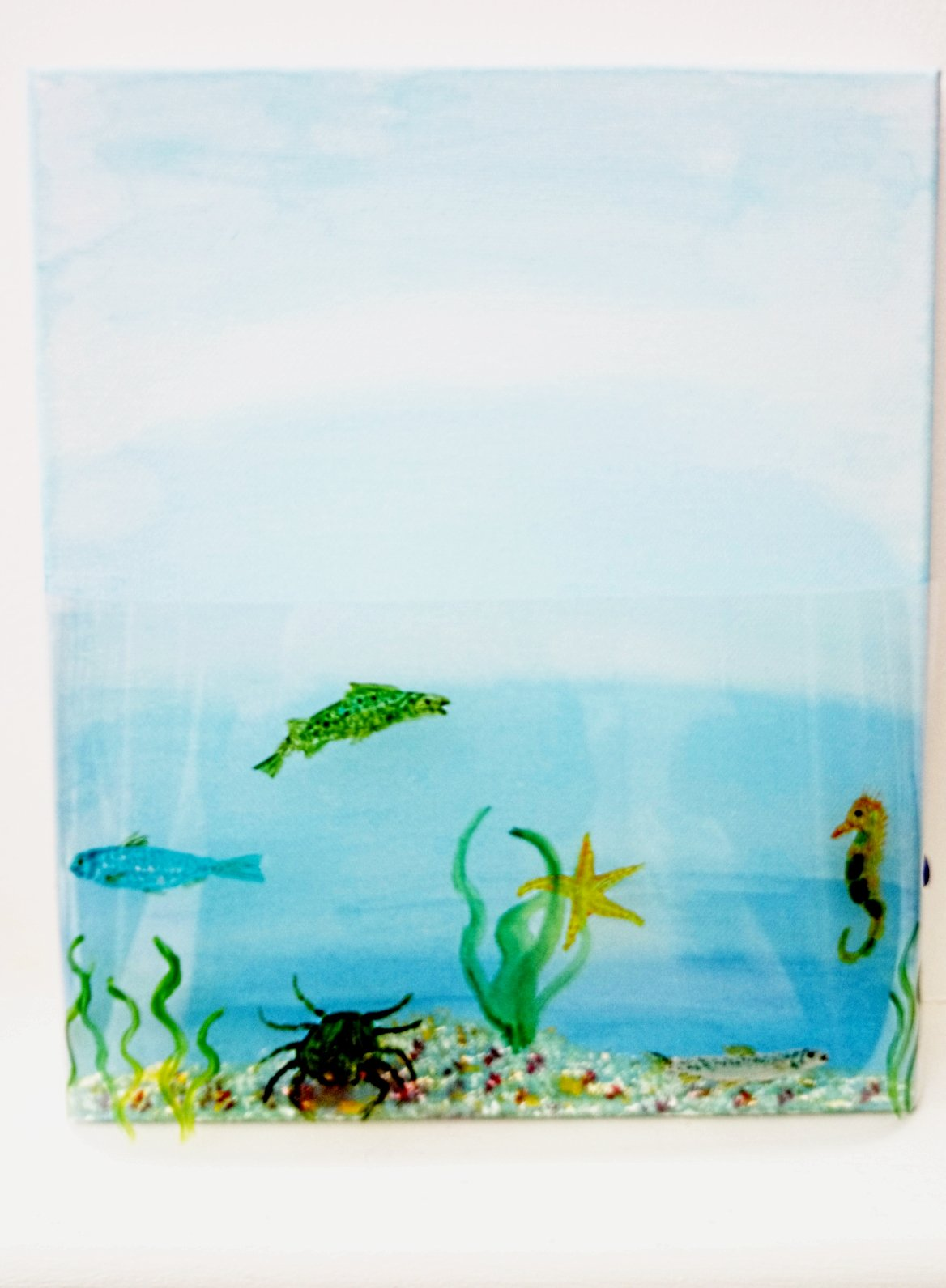 Fish Glass Painting with an acrylic background