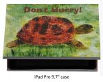 IPad pro case with a tortoise painting and the text Don't Hurry!