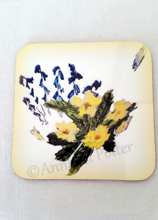 Drinks coaster with primroses and bluebell illustration