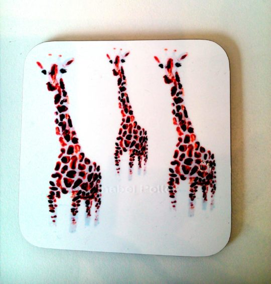 Coaster with an illustration of three giraffe
