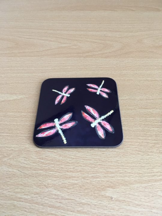 Pink dragonfly coaster
