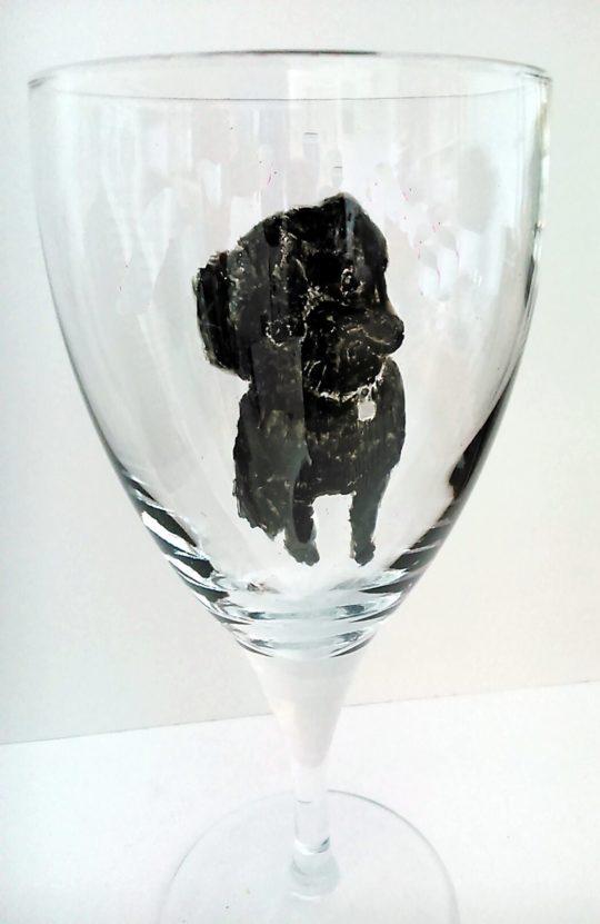 black pug pet portrait on a glass