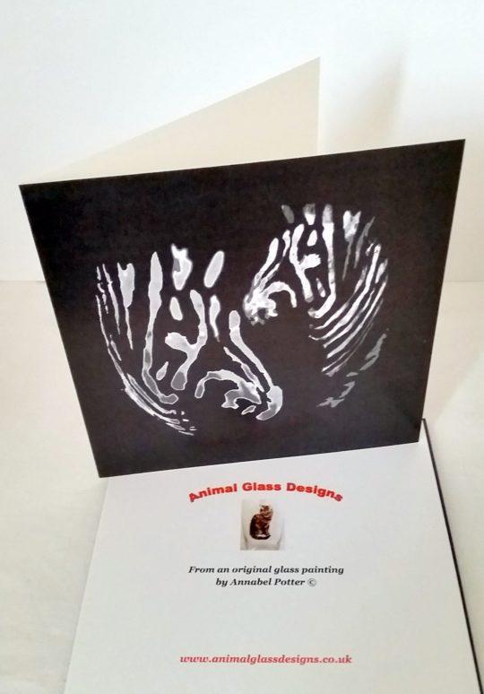 Wildlife card with black and white zebras illustration