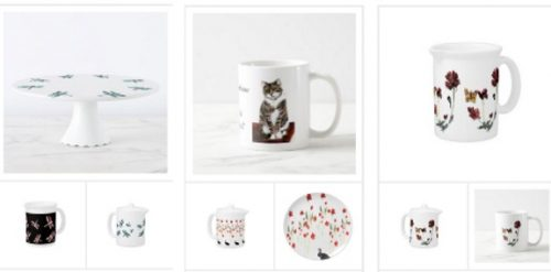 Dining collection with flowers and animal illustrations