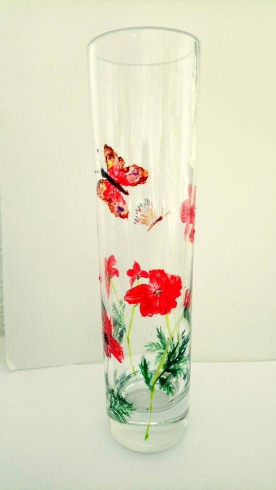 Poppy bud vase with two butterflies
