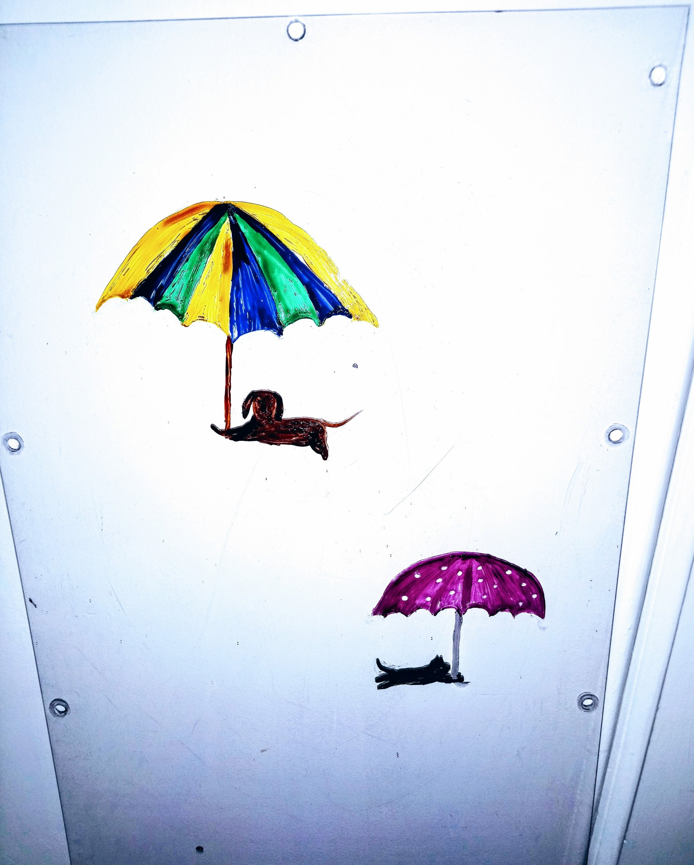 Raining cats and dogs with umbrellas, in progress painting