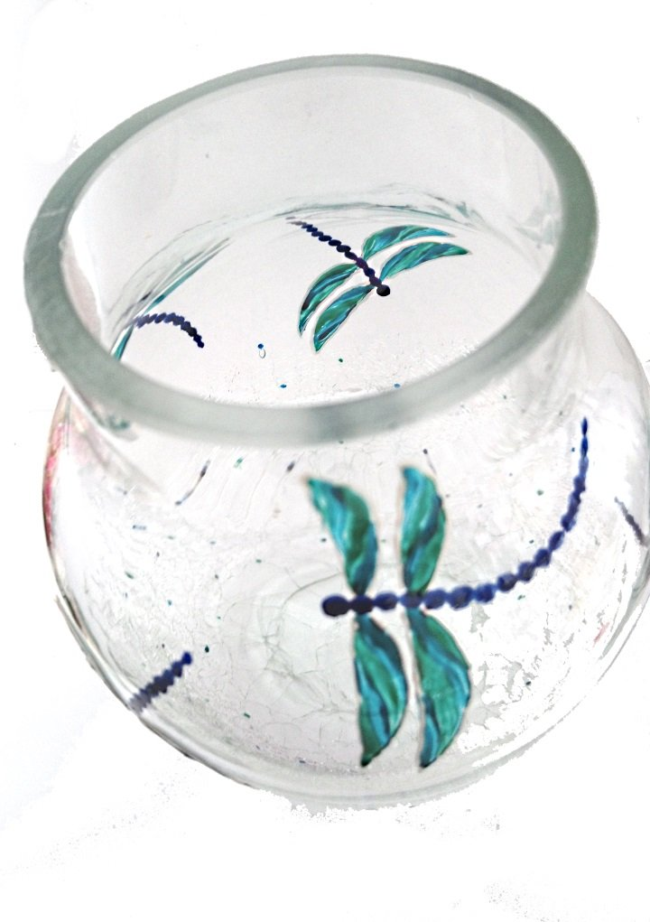 Dragonfly crackle vase hand painted, photograph from above