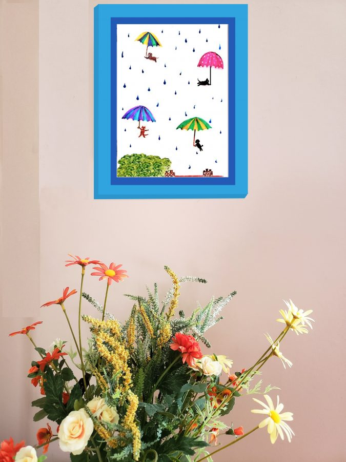 Raining cats and dogs funny wall art
