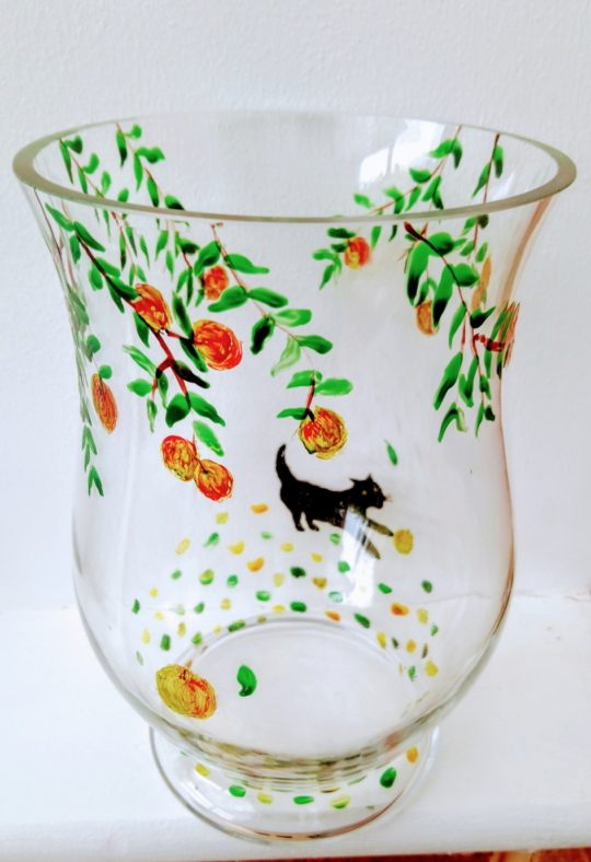 Glass vase hand painted with an apple tree and cat