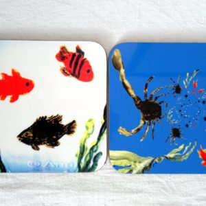 Seaside coaster set with an abstract crab image and fish