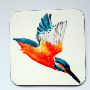 Kingfisher coasters with artwork of a kingfisher in flight