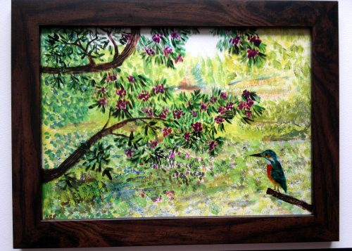 Mixed media acrylic and glass painting with a kingfisher sitting by a pond and rhododendron tree
