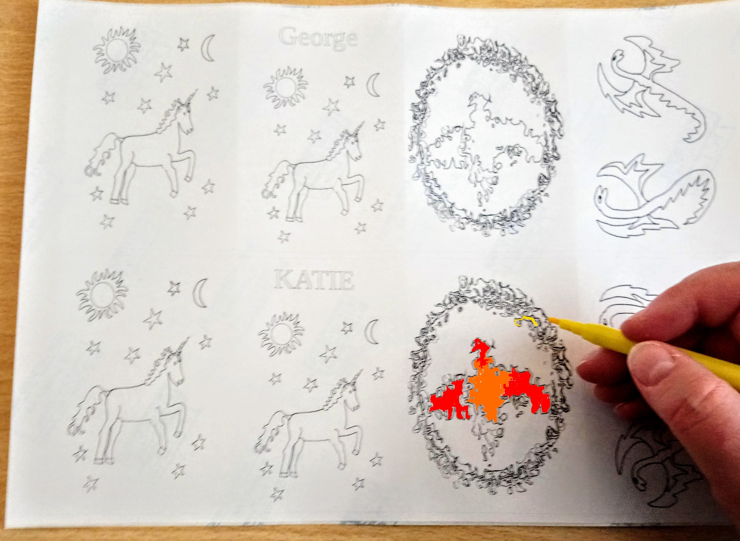 Mythical animal stickers to colour-in with unicorns, phoenix and dragons