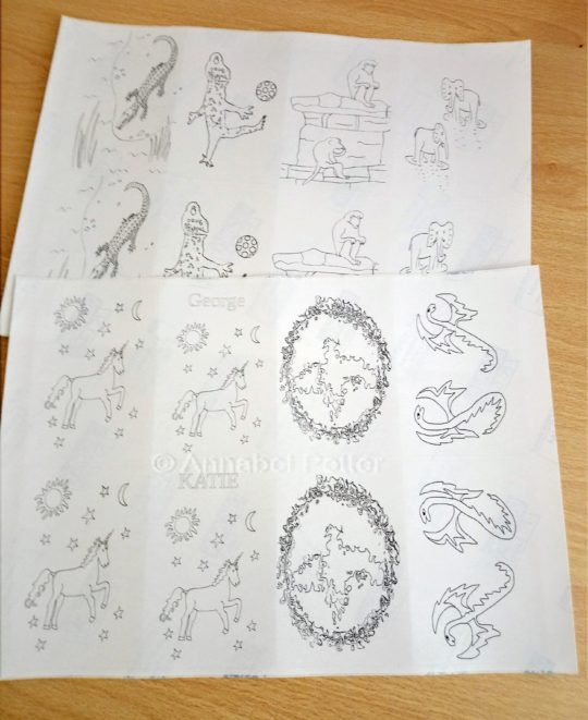 Mythical animal and wild animal stickers set to colour in