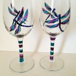 Dragonfly wine glasses hand painted with purple and turquoise dragonflies