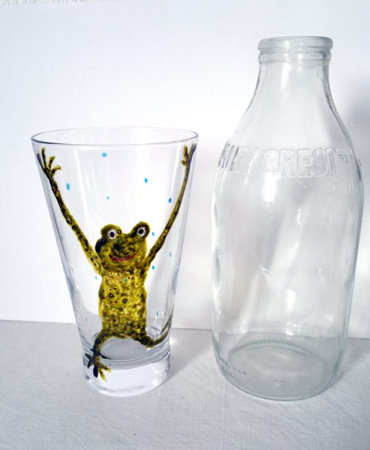 Sporty Frog glass painting with a pint bottle for size