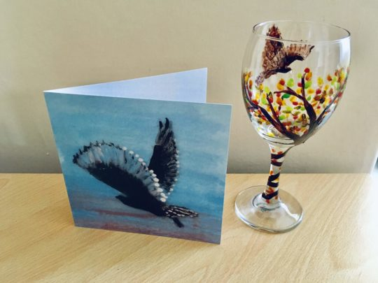 Owl sunrise greeting card with an owl wine glass painting