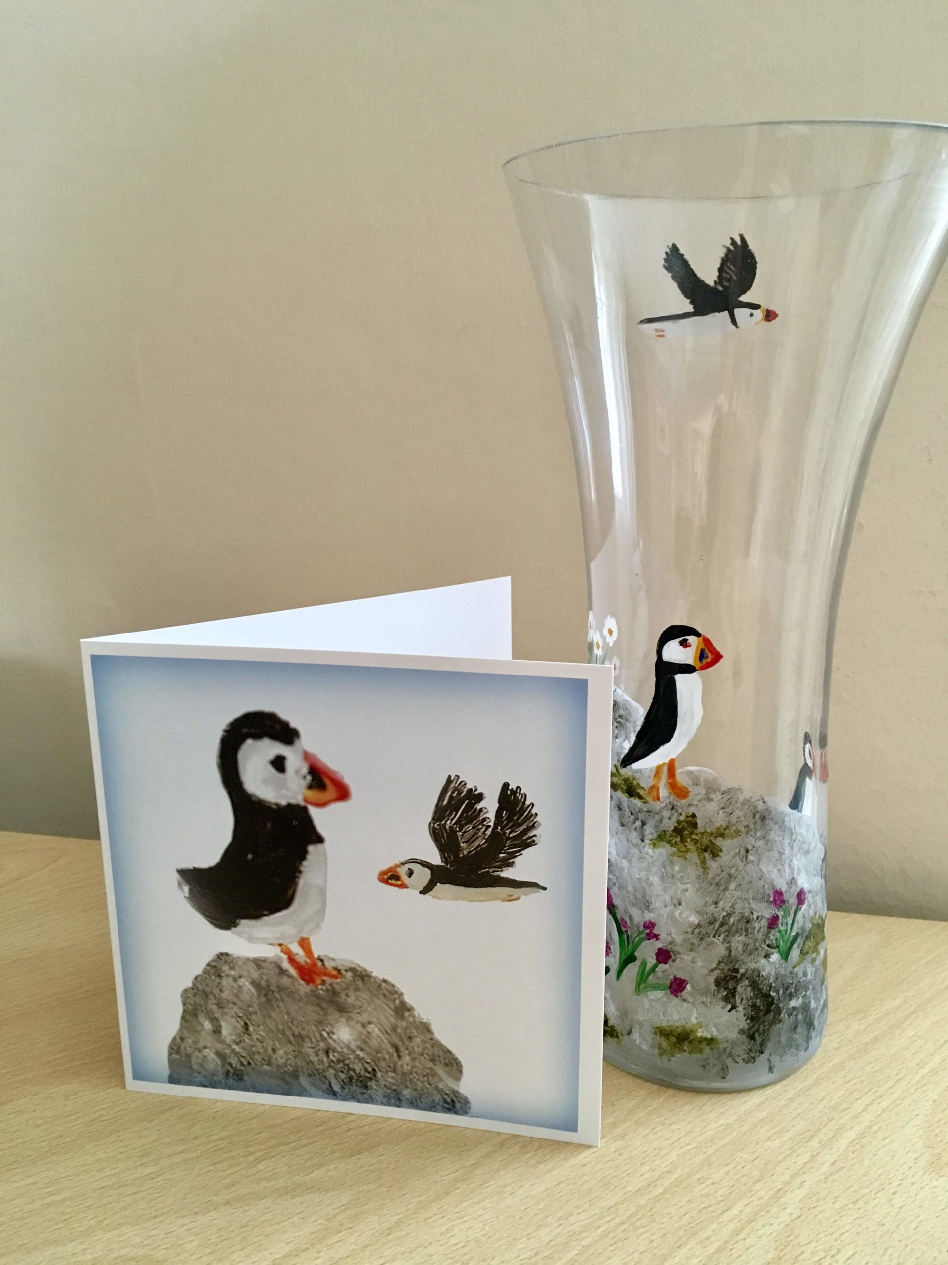 Puffin greeting card photographed with a puffin vase glass painting
