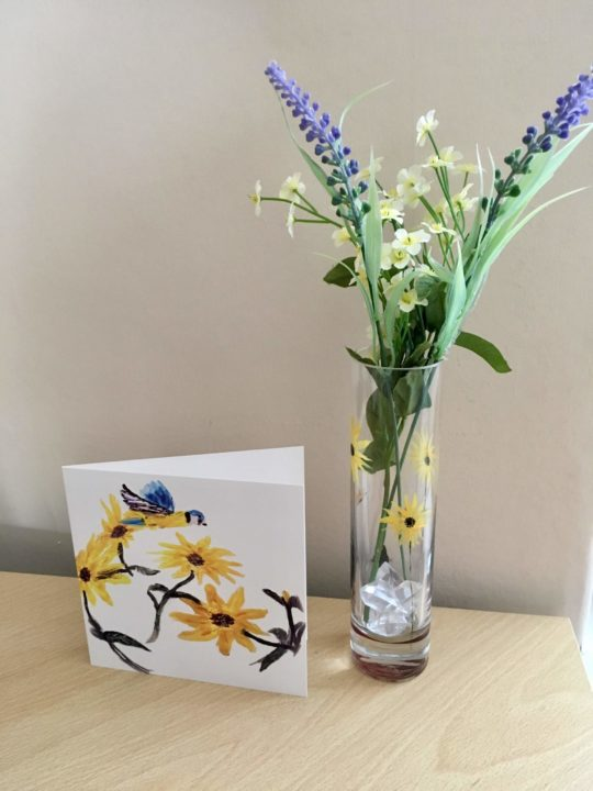 Sunflower card with a blue tit bird and hand painted sunflower vase