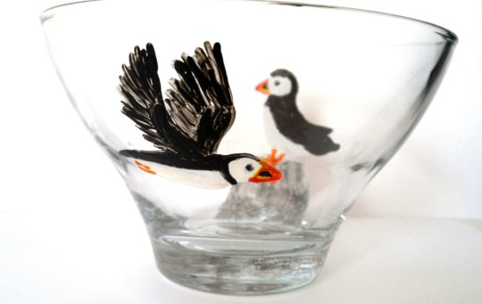 Puffin glass bowl painted with two puffins
