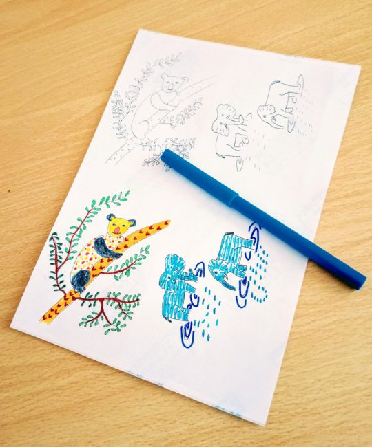 Animal stickers to colour with elephants and koala bear. Shows two coloured in.