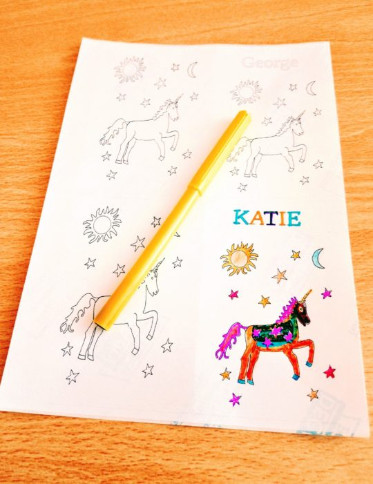 Unicorn stickers with one coloured in