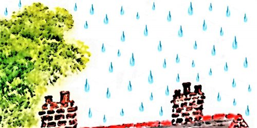Illustration for the water cycle poem with raindops falling on a roof