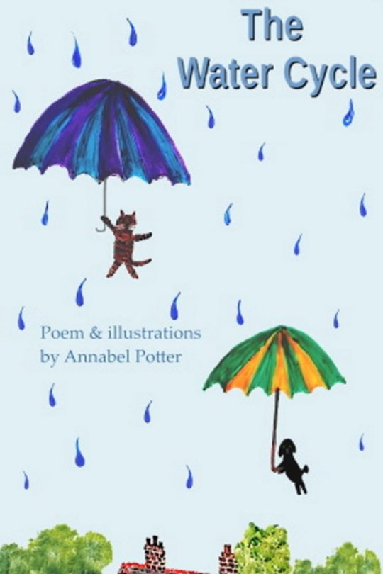 Water cycle poem ebook cover with a cat and dog in the rain