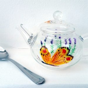 Small glass teapot hand painted with butterfly and lavender