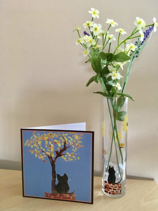 Autumn tree cat card with a hand painted cat vase
