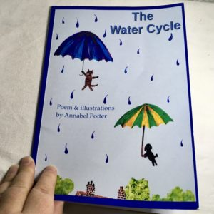 Photo of a children's poetry picture book with a poem about the water cycle
