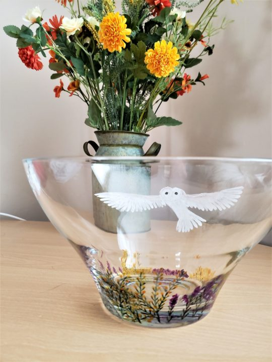 Large glass bowl hand painted with a barn owl and heather and gorse