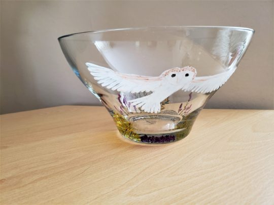 Glass painting of a barn owl on a large glass bowl