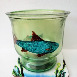 Fish candle holder hand painted with a coaster